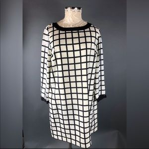 J crew checker sheath dress black ivory